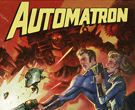 Man and Women shooting at Automatron Bot