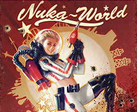女孩在 Nuka World 中手持一把外星槍