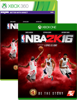 NBA 2k16 on Xbox One and Xbox 360 box shots