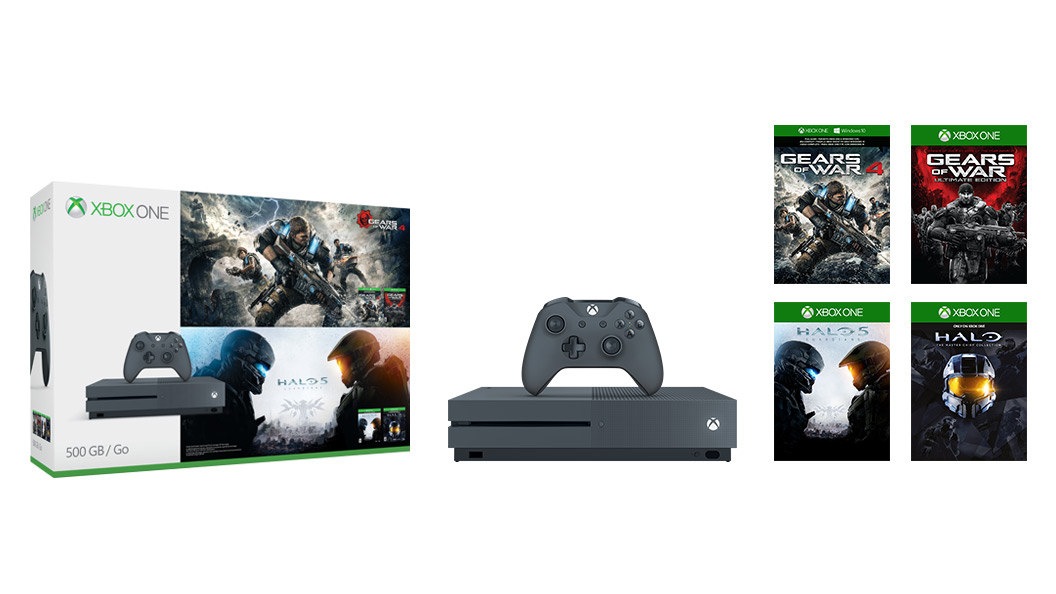 Items included the Gears of War Halo 500 GB grey console bundle