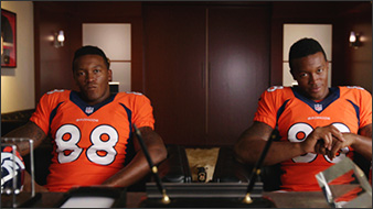 Demaryius Thomas and his twin grill a failed fantasy football manager.