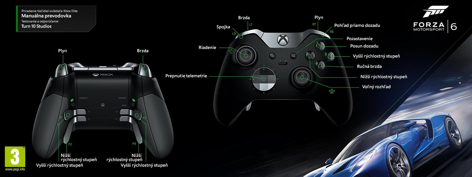 Mapovanie ovládača Elite na manuálny prevod k hre Forza Motorsport 6