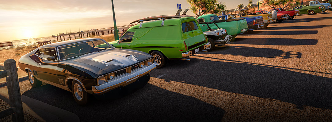 Classic cars by the beach