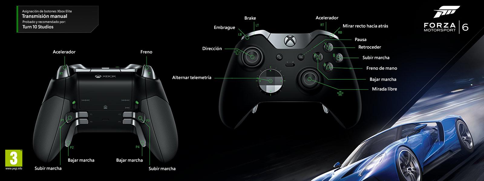 Forza Motorsport 6: transmisión manual (asignación de funciones del mando Elite)