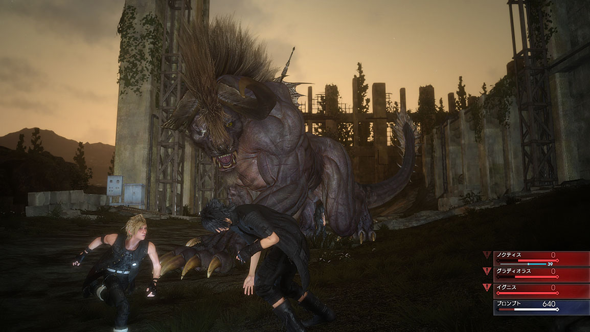 Prompto and Noctis face the Behemoth