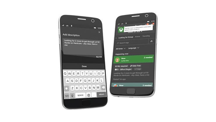 Grupos de la Aplicación de Xbox en dispositivo móvil