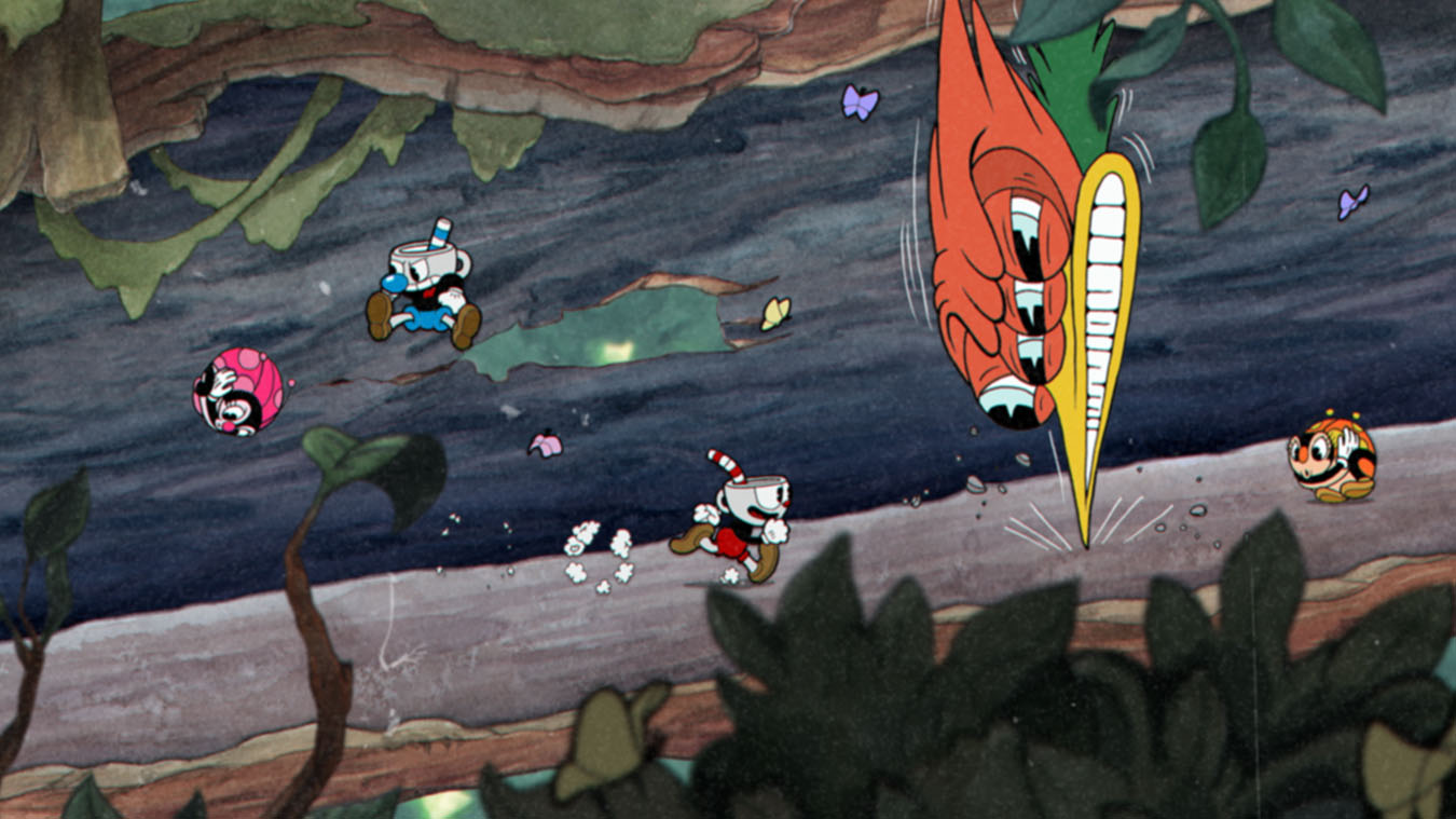 Cuphead and Mugman fight in a tree