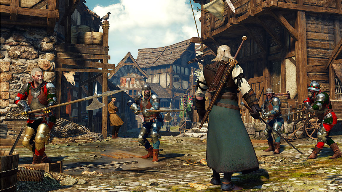 The Witcher 3: Wild Hunt, combat avec des gardes