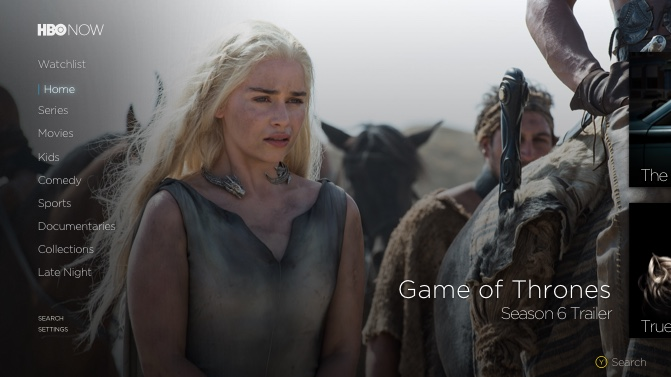 HBO NOW for Xbox One Home screen screenshot