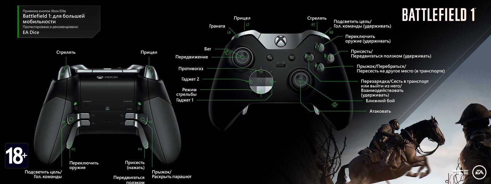 Battlefield 1 — раскладка для высокой подвижности под геймпад Elite