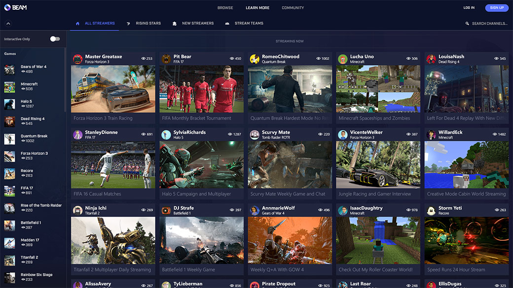 Catalogo di streaming di Beam