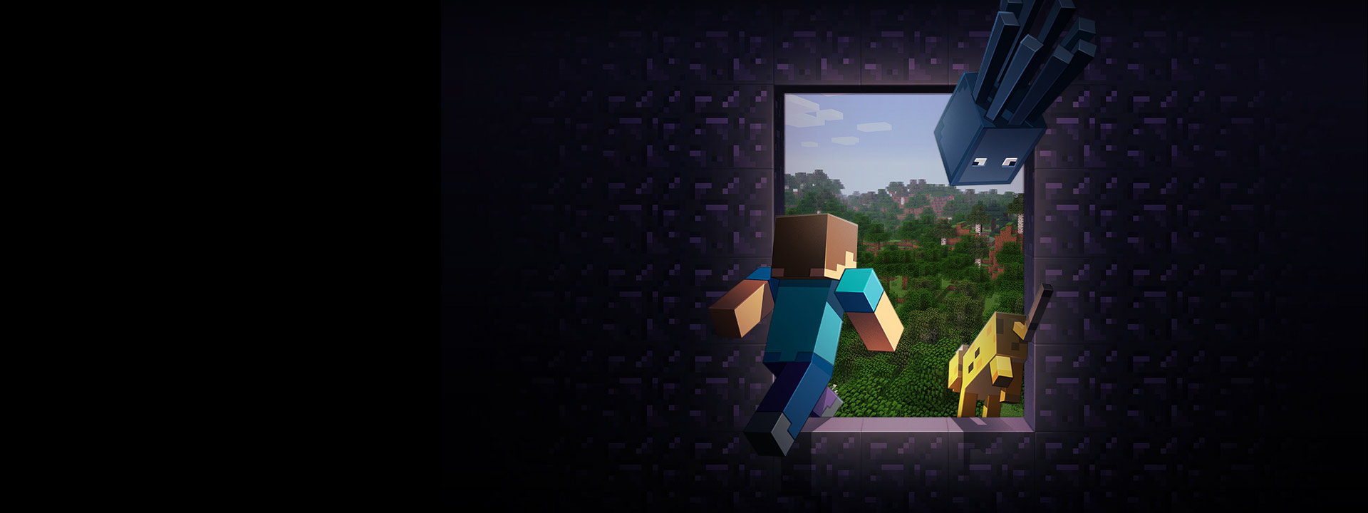 Minecraft Player going through a window to the Minecraft world