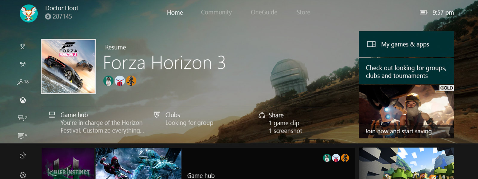 Xbox One Dashboard - Home