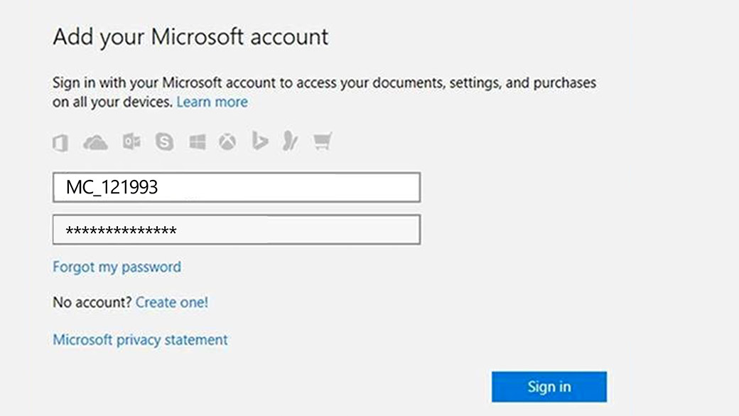 Microsoft Account sign in menu