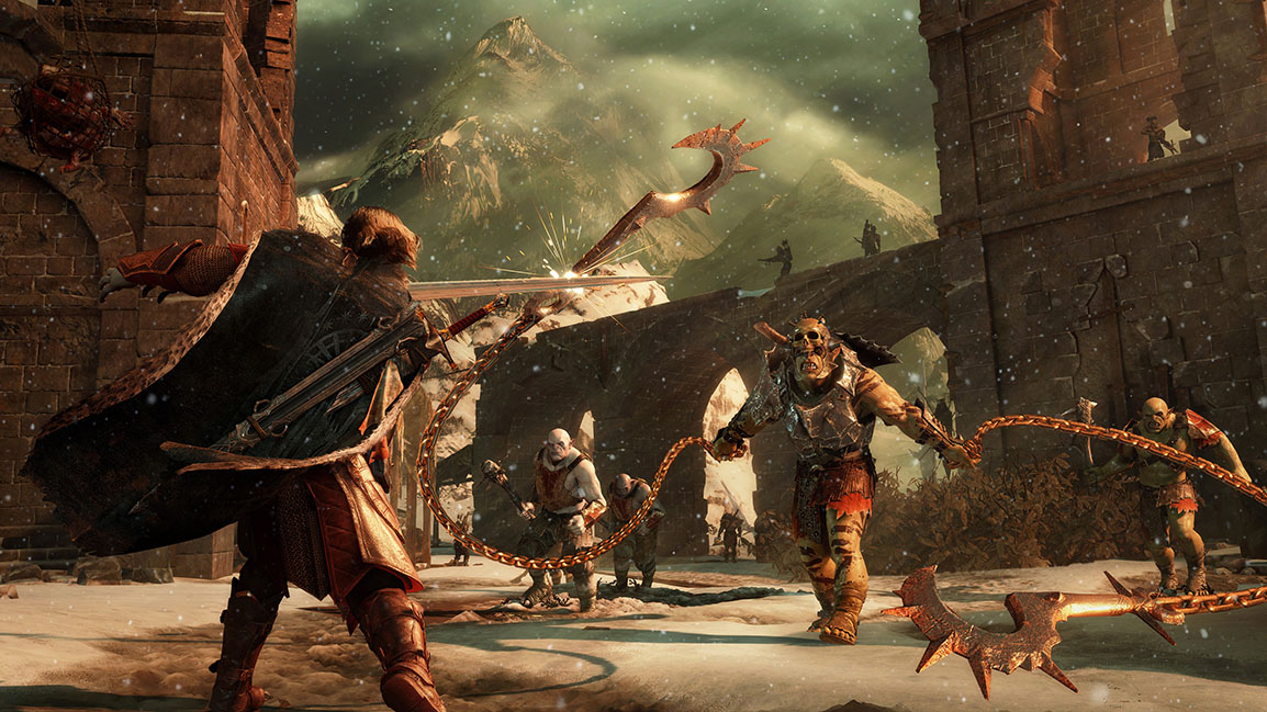 Talion lucha con orcos