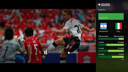 Univision Deportes Xbox One 24/7 Coverage English Screenshot