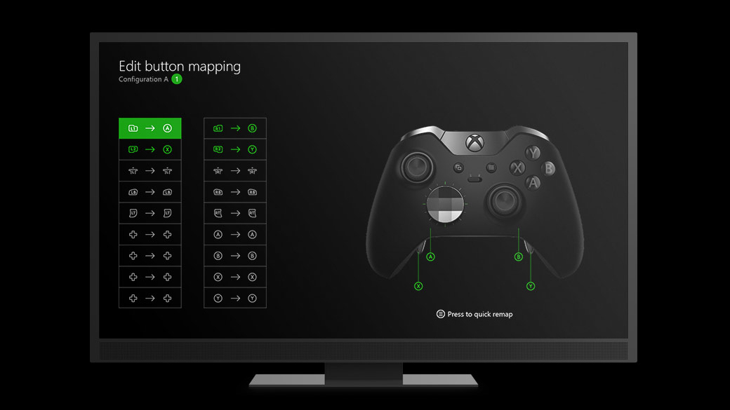 Elite controller remapping screen