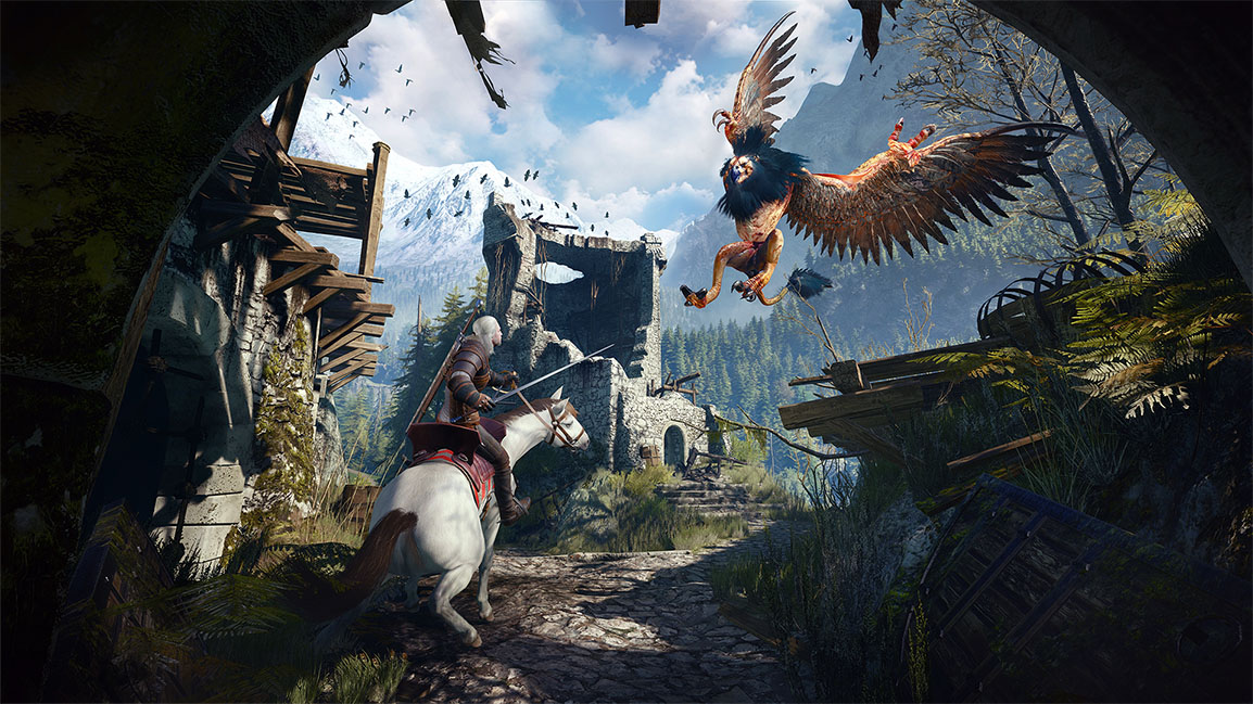 The Witcher 3: Wild Hunt, combat avec un griffon