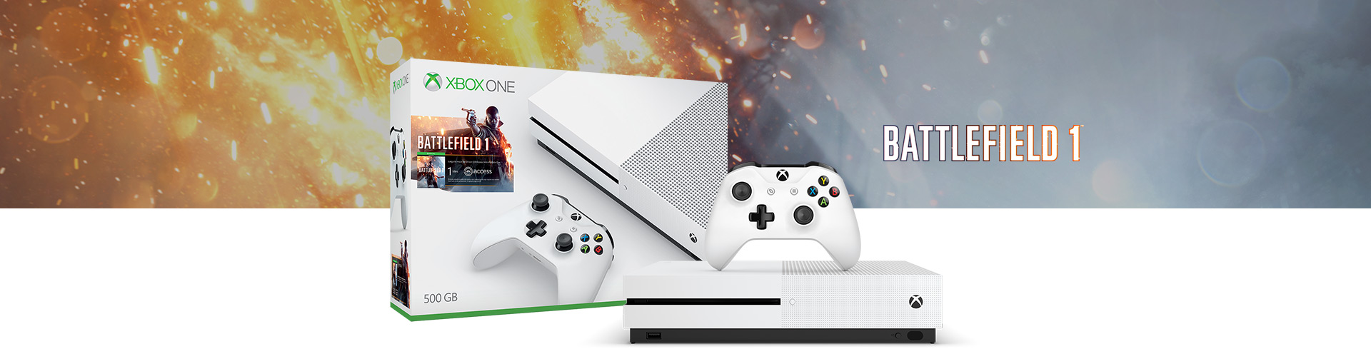 Image result for Xbox One S 1TB Battlefield 1 bundle WHITE