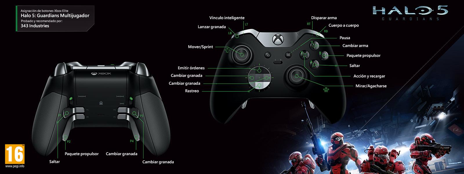 Multijugador en Halo 5: Guardians (asignación de funciones del mando Elite)
