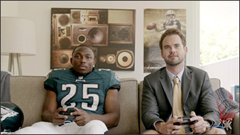 LeSean McCoy and his fantasy football manager play a heated game of Madden.