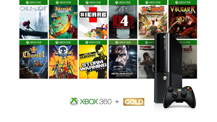Xbox 360 console with Xbox One games