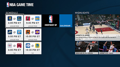 NBA Game Time league schedule screenshot