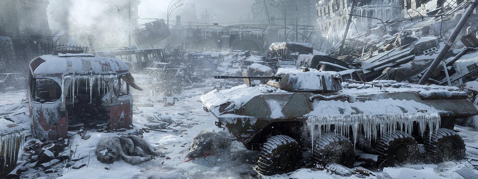 Vereister Panzer in entvölkerter Stadt
