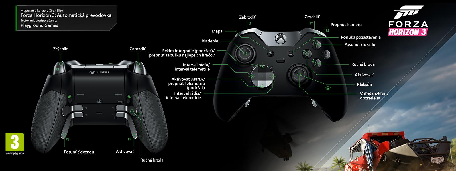 Mapovanie ovládača Elite na automatický prevod v hre Forza Horizon 3