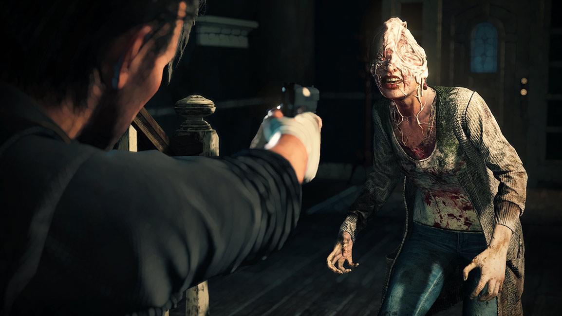 Sebastian points gun at woman with half a head