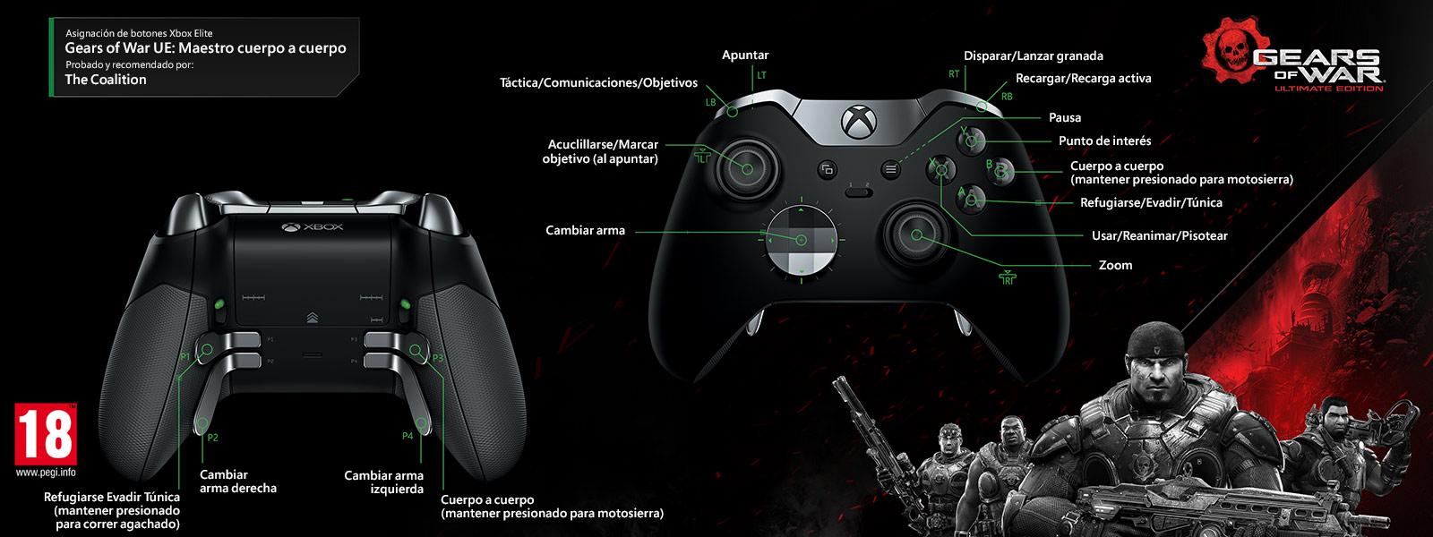 Gears of Wars Ultimate Edition: modo multijugador de maestro de lucha cuerpo a cuerpo (asignación de funciones del mando Elite)