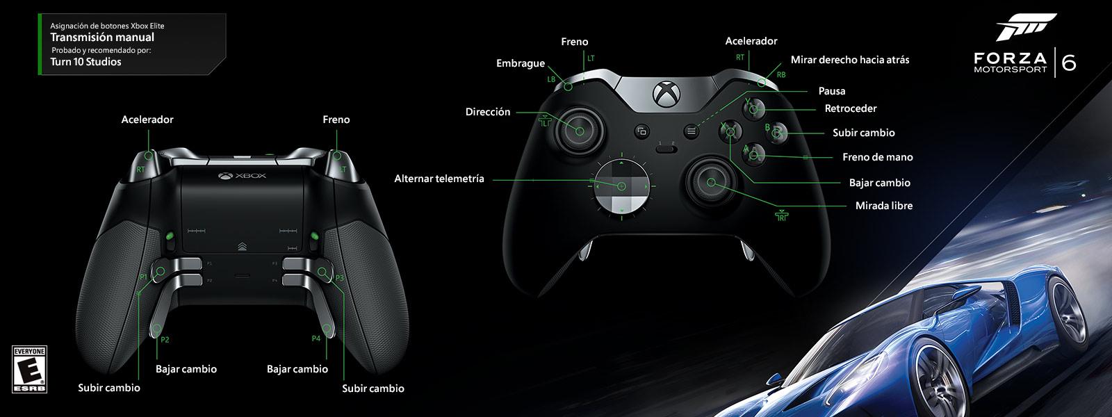 Forza Motorsport 6: transmisión manual (asignación de funciones del control Elite)