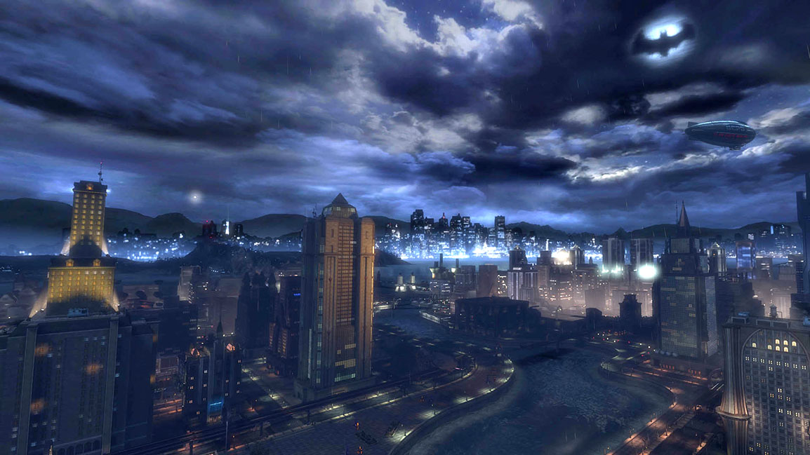 Explore open world city zones like Gotham