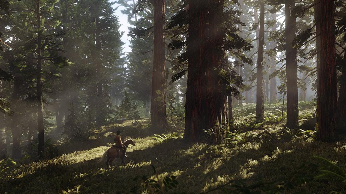 Man som rider genom skog