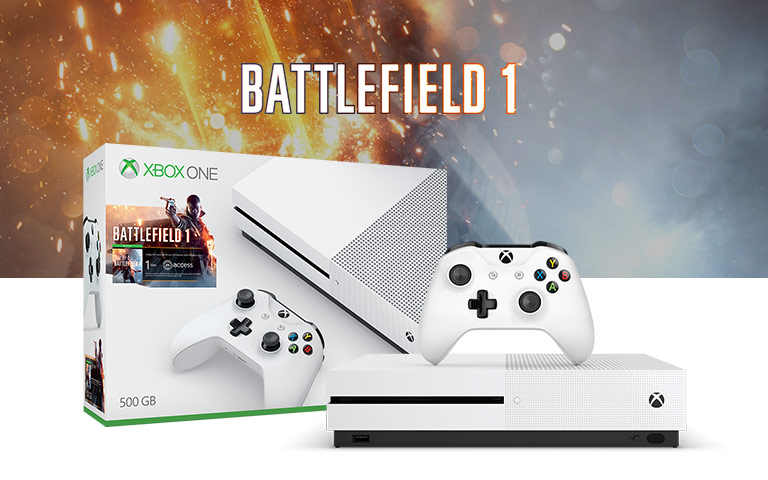 pack xbox one s 500go battlefield 1 ou fifa 17. Black Bedroom Furniture Sets. Home Design Ideas