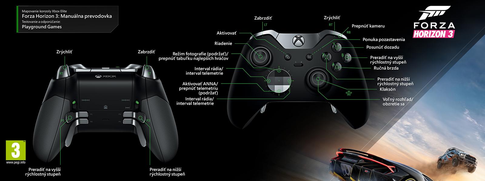Mapovanie ovládača Elite na manuálny prevod v hre Forza Horizon 3