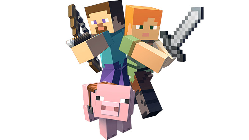 Minecraft Players with a bow and arrow sword and pig