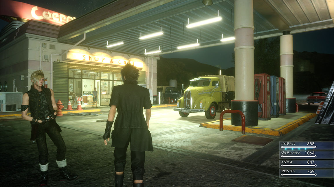 Prompto og Noctis stopper for at tanke op