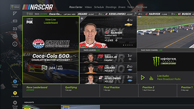 NASCAR screen on Xbox One