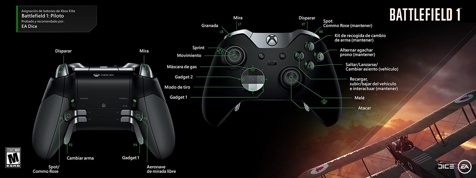 Battlefield 1: piloto (asignación de funciones del control Elite)