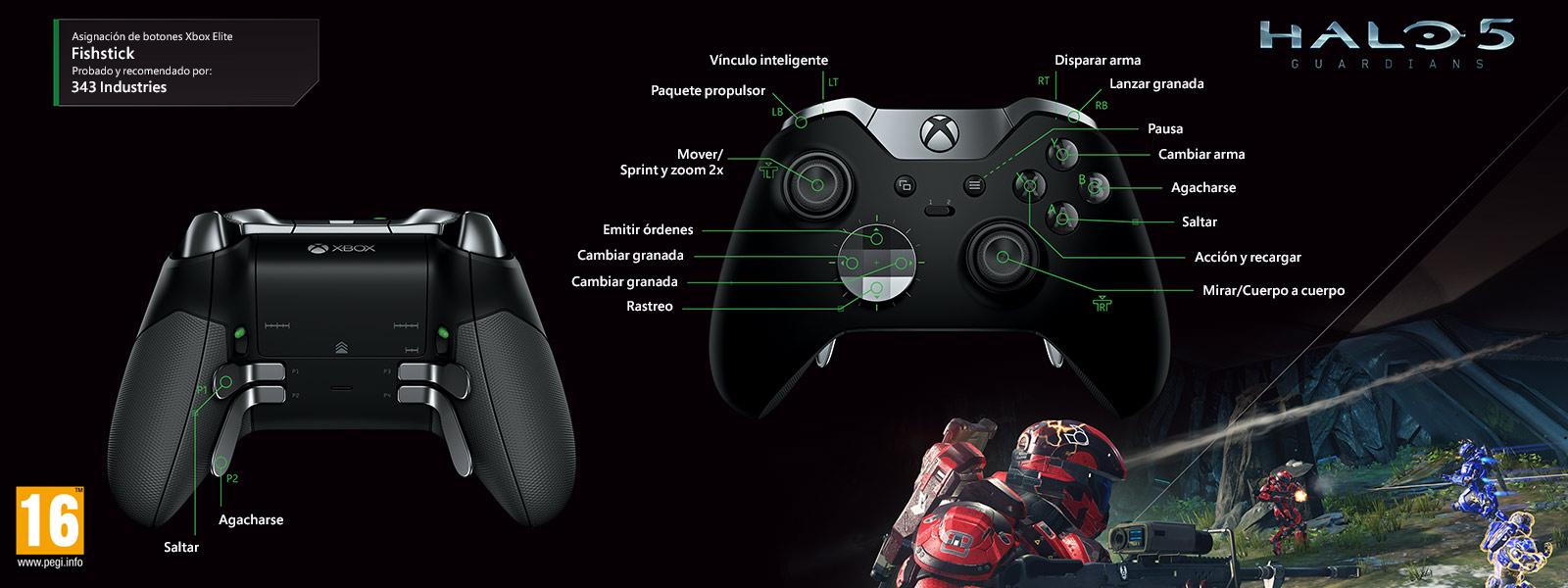 Halo 5: Fishstick (asignación de funciones del mando Elite)