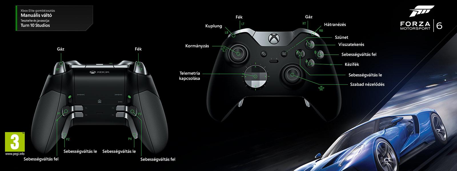"""Forza Motorsport 6 – """"kézi váltás"""" Elit-gombkiosztás"""