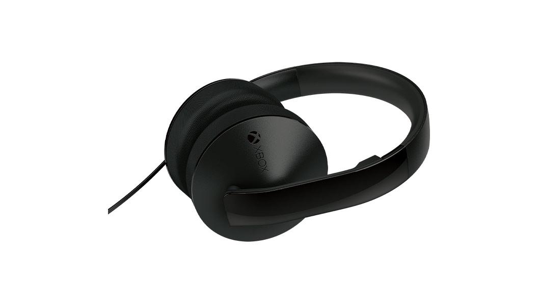 Visão horizontal dos fones de ouvido estéreo/microfone acima