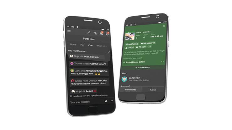 Clubes de la Aplicación de Xbox en dispositivo móvil