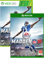Madden 16 on Xbox One and Xbox 360 box shots