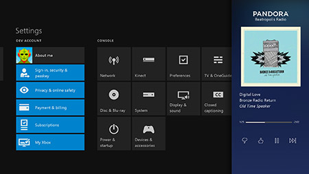 Snap Pandora on Xbox One