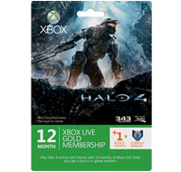 Halo 4 Xbox LIVE 12 + 1 Month + Corbulo Emblem  Gold Subscription Card