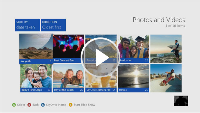SkyDrive LIVE screen on Xbox360