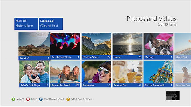 OneDrive Live screen on Xbox360