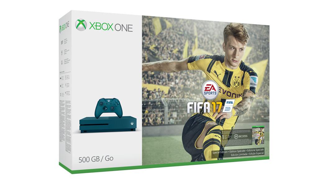 Immagine della confezione della console da 500 GB in edizione speciale con FIFA 17